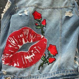 Bling embroidered denim jacket
